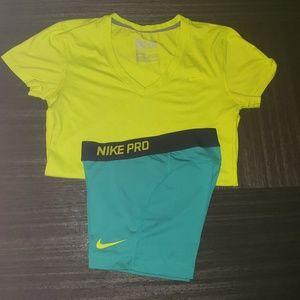 Nike dri fit shirt and shorts set